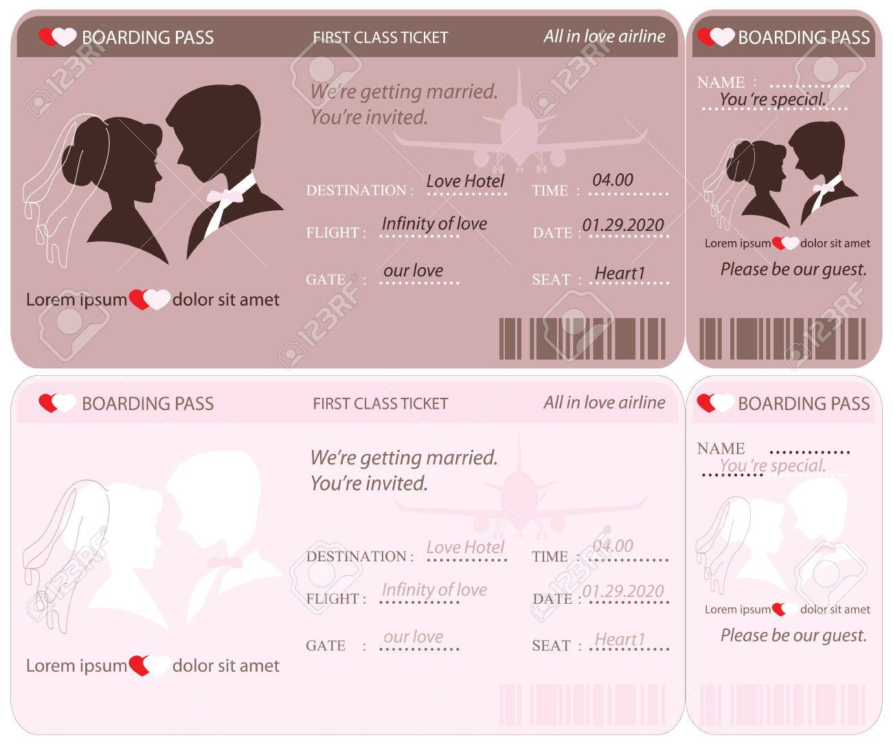 Boarding pass ticket conceptual wedding invitation template boarding pass ticket conceptual wedding invitation template stock vector 48162241 stopboris Image collections