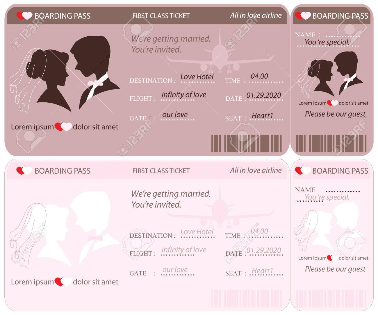 Boarding Pass Ticket, Conceptual Wedding Invitation Template ...
