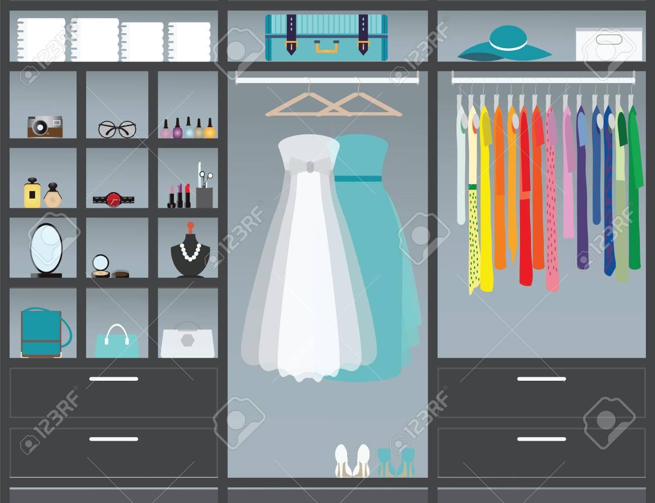 Great Flat Design Walk In Closet, Interior Design, Clothing Store, Boutique Indoor  With Cosmetics
