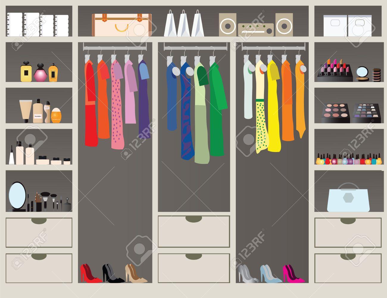 900f4c7704e0 Pie plano Diseño in closet con estantes para accesorios y cosmética  maquillaje, diseño de interiores, tienda de ropa, Boutique cubierta de  telas de la ...