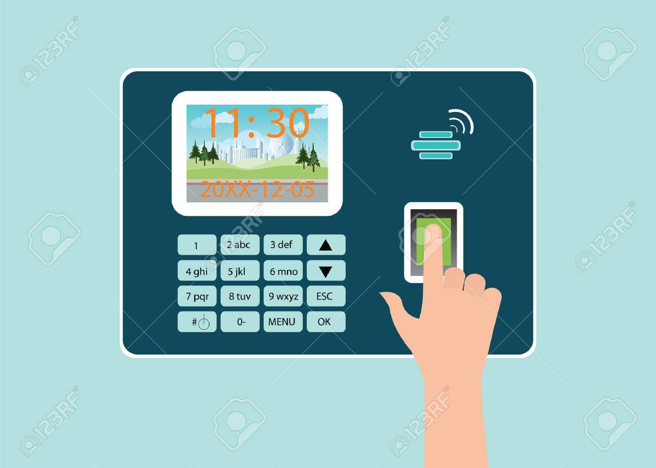 Human Hand touch screen with fingerprint in Time recorder machine, vector illustration. - 51001640