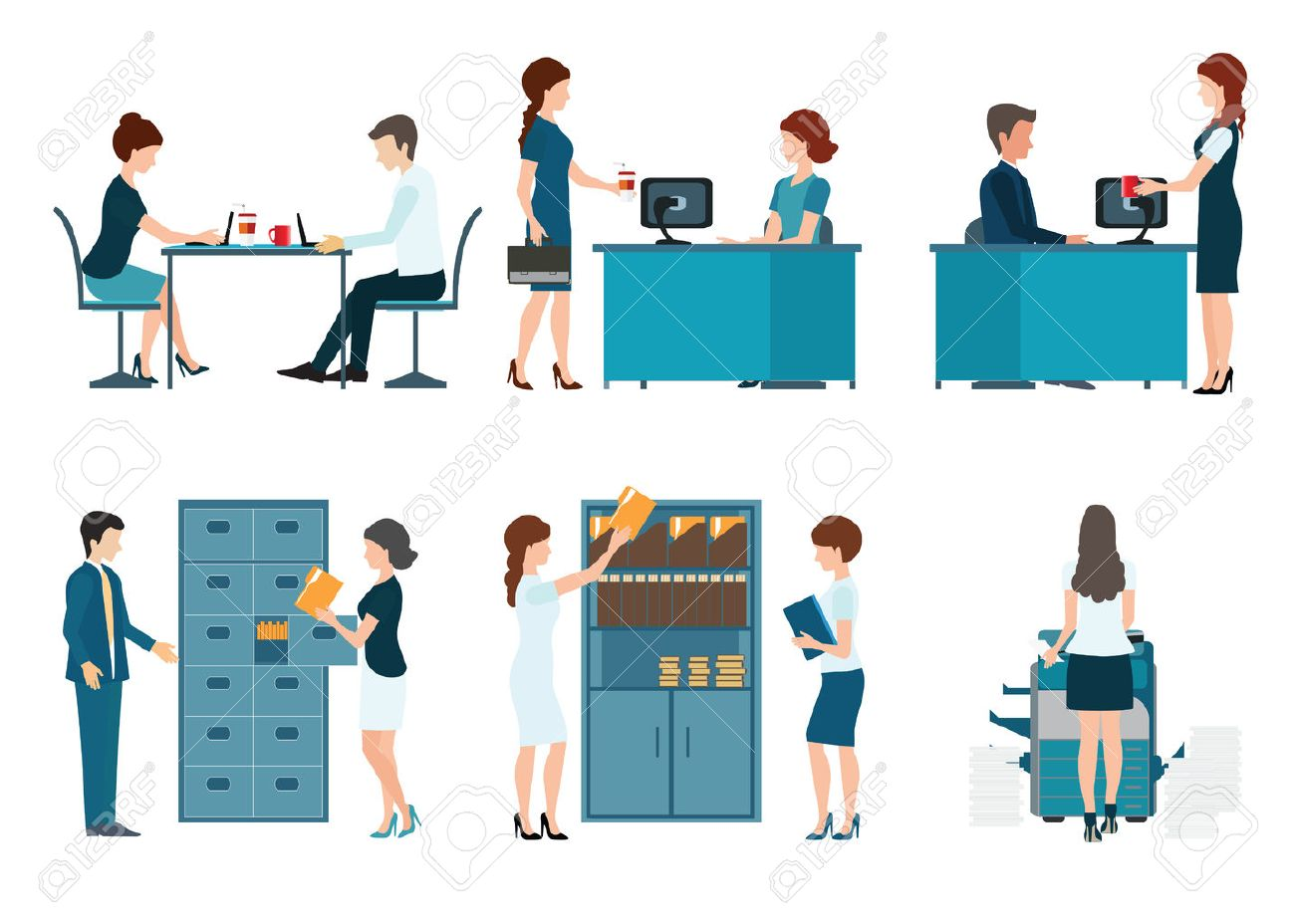 Office worker, office people working isolated on white background , business people vector illustration. - 53047893