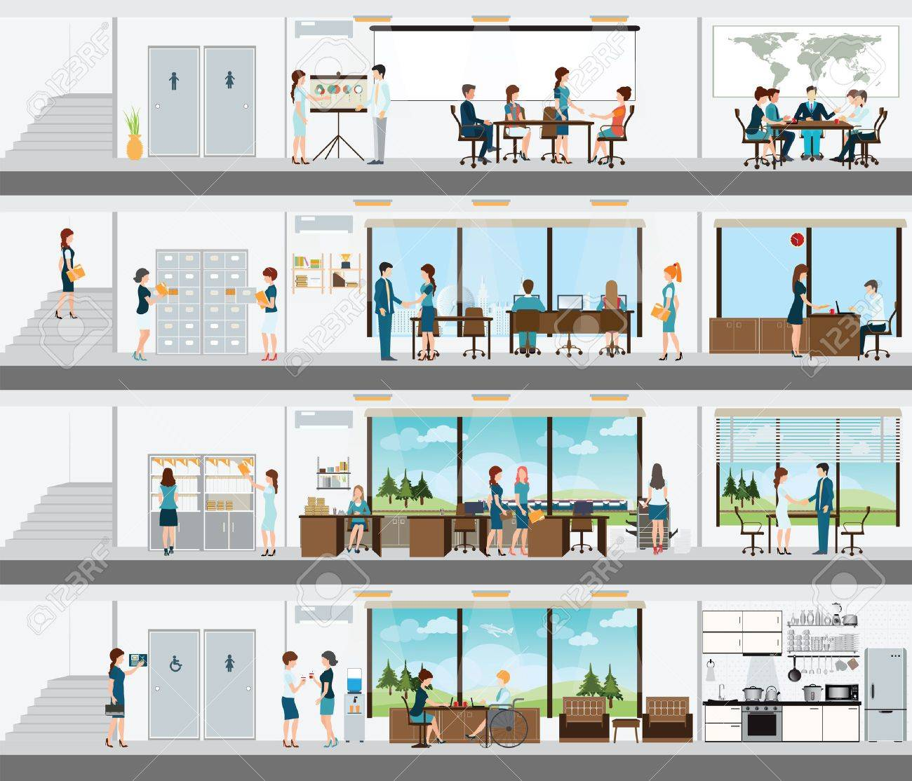 people in the interior of the building interior office building office interior people building an office desk