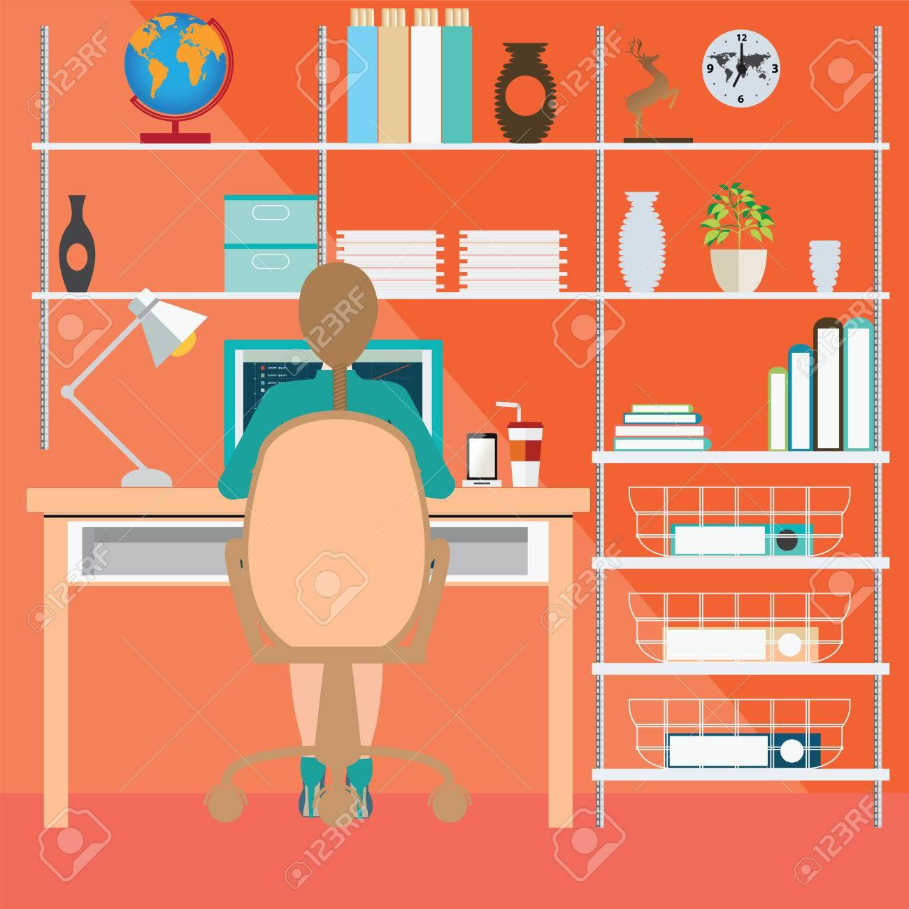 Business-Frau Arbeitet Im Büro Zu Hause, Büroleute, Büro Inter ...