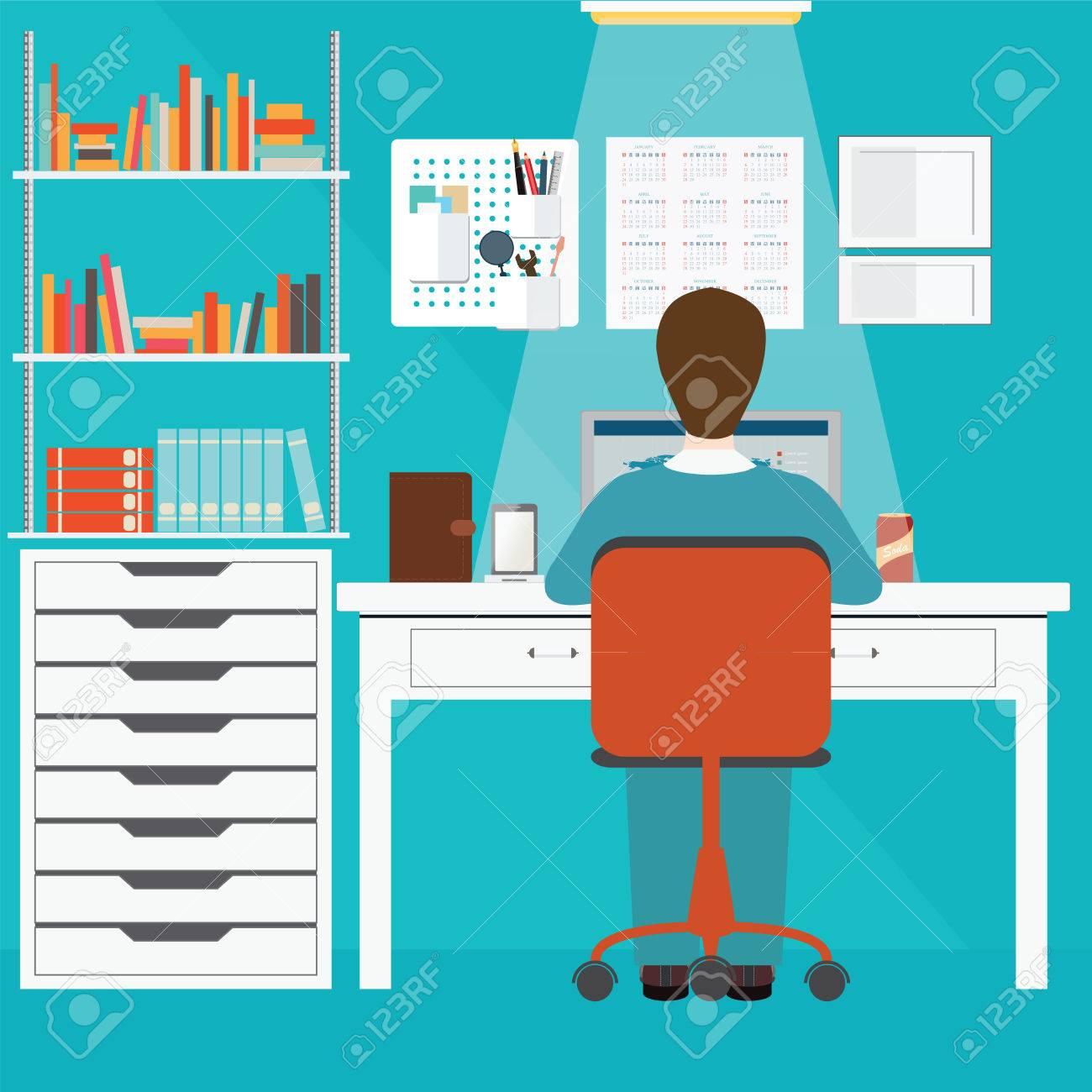 Kaufmann Arbeitet Im Büro Zu Hause, Büroleute, Büro Inter ...