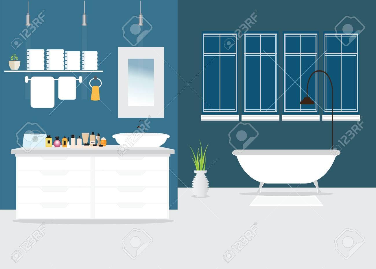 Entre El Diseño Moderno Cuarto De Baño Con Muebles, Bañera, Lavabo ...