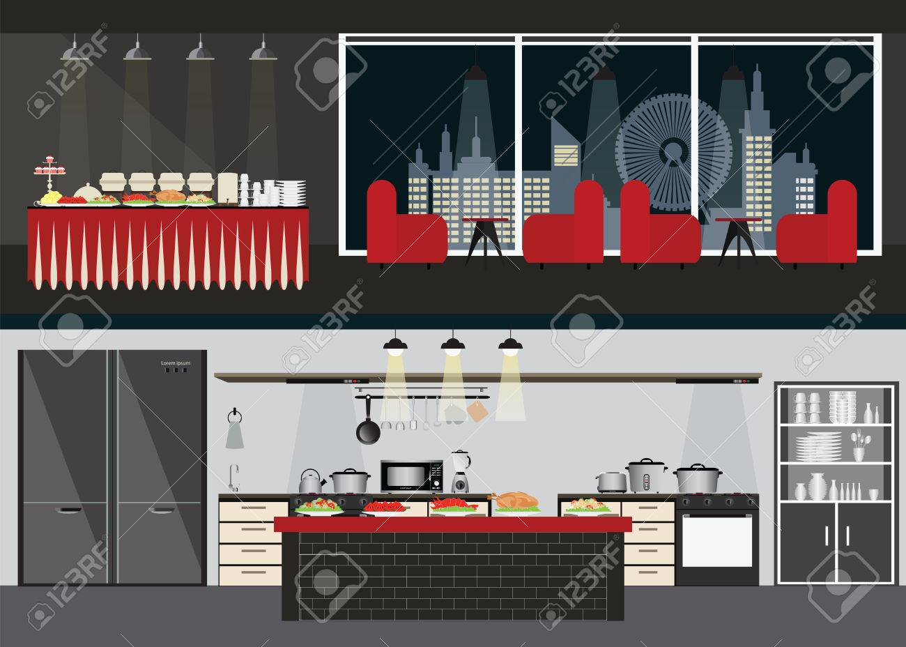 Set Of Restaurant Interiors Dining Room And Table Buffet On Night City View
