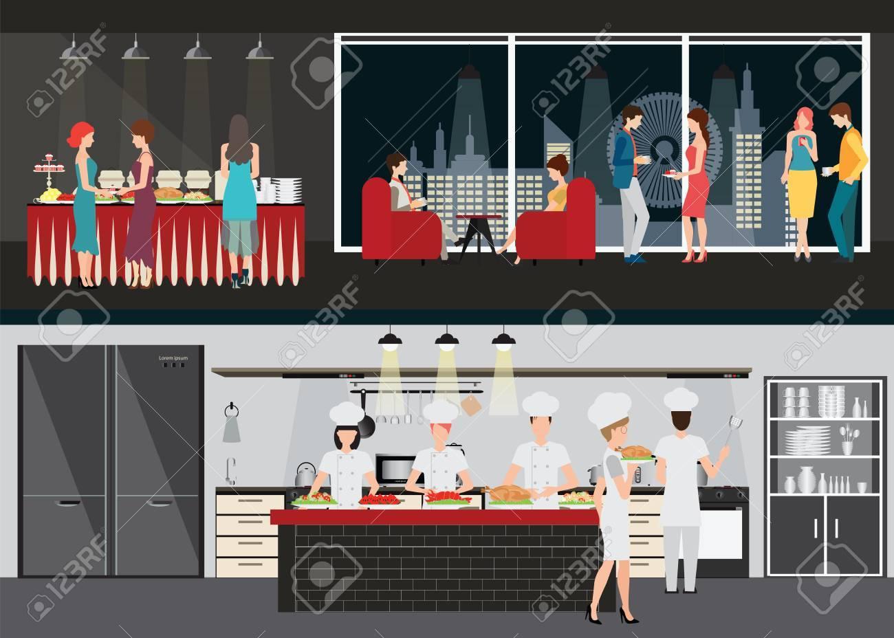Küchen Inter Mit Koch Und Restaurant Inters, Esszimmer Und Tisch Oder Buffet  Am Abend Blick