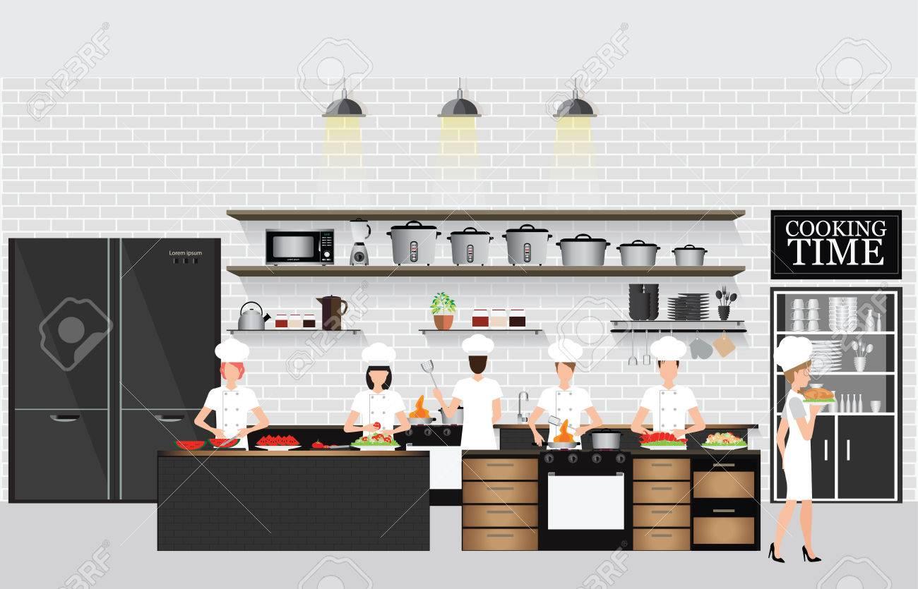 Chefs Kochen Am Tisch Im Restaurant Küche Inter Mit Küche Regale Und