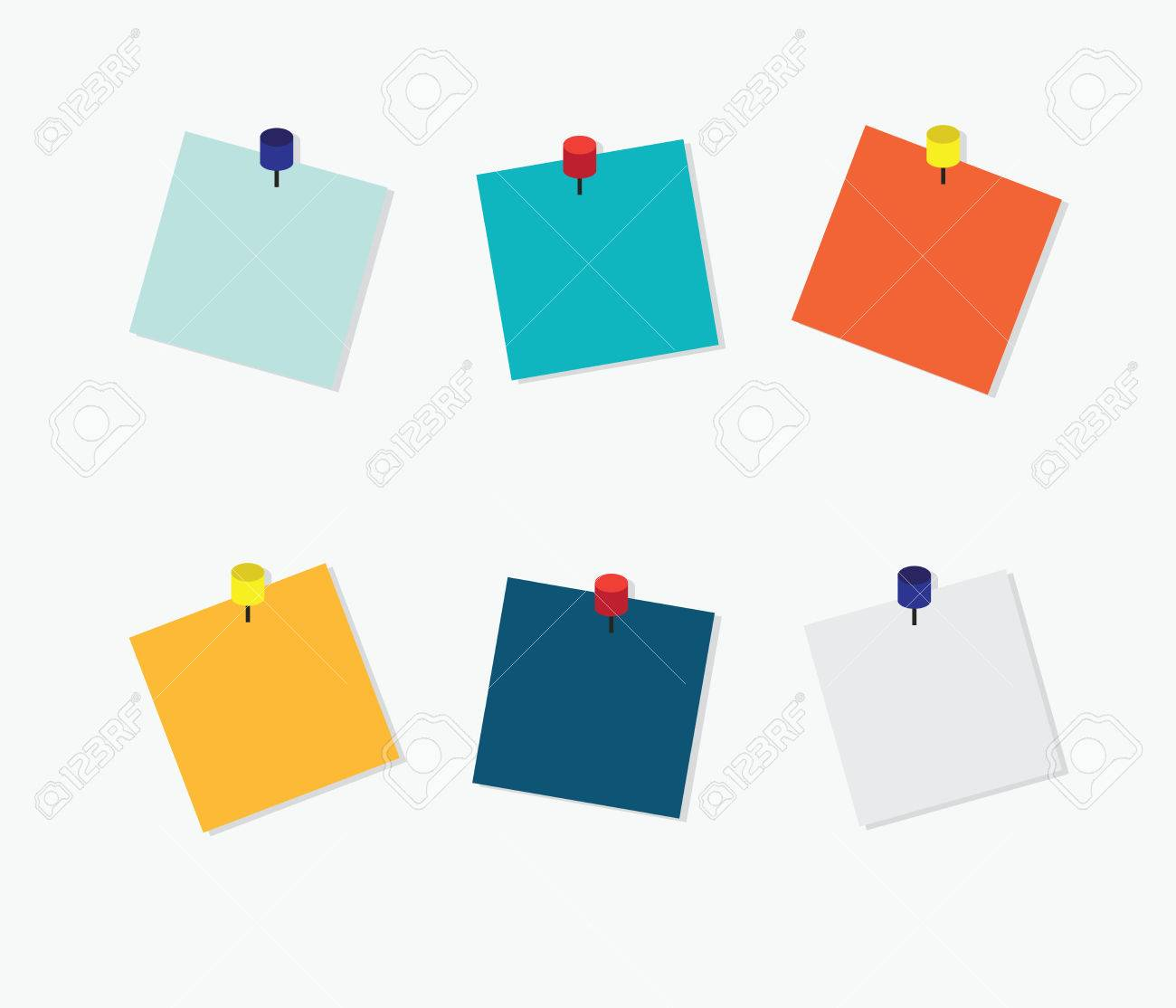 blank colorful sticky notes post it note with pin on white rh 123rf com post it note vector graphic blue post it note vector