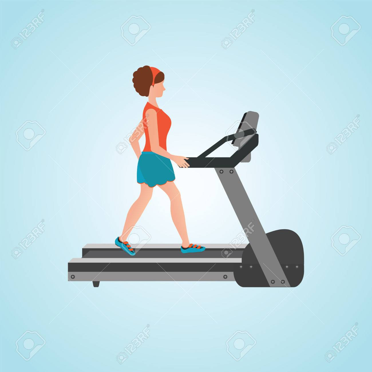 Jeune Femme Adulte Courir Sur Tapis Roulant Sport Fitness