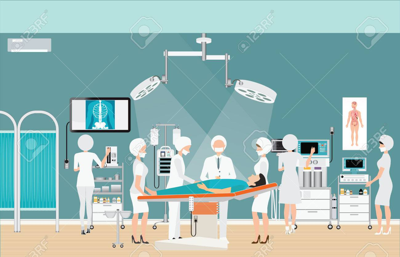 Medical hospital surgery operation room interior at the hospital with doctor and patient, medical health care charactors vector illustration. - 61450040