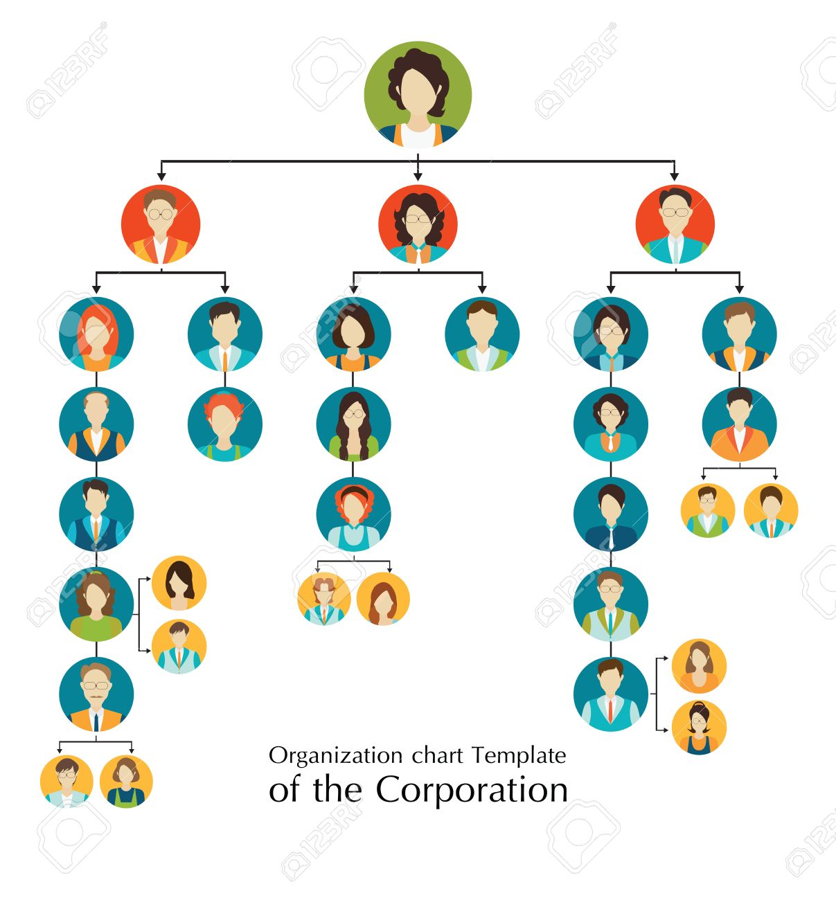 Organizational chart template of the corporation business hierarchy organizational chart template of the corporation business hierarchy people structure character cartoon business people accmission Image collections