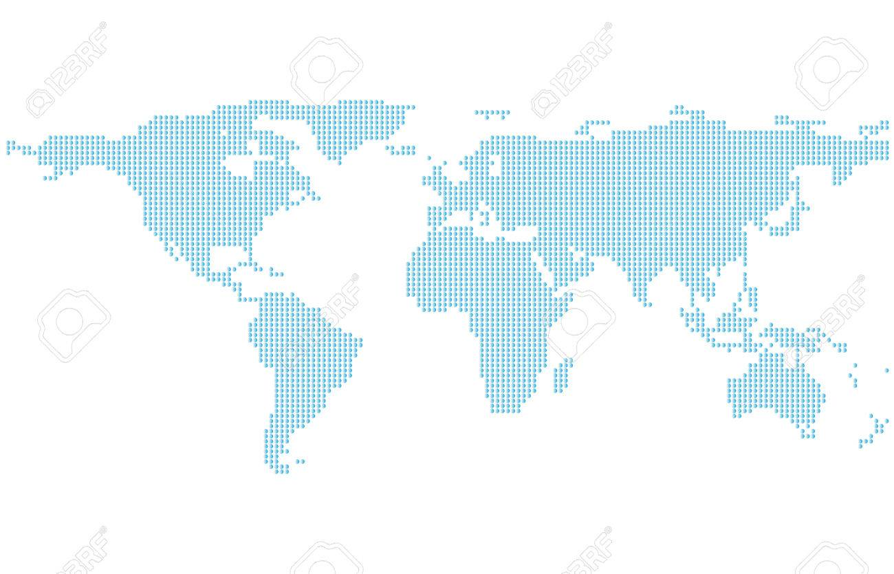 Dotted world map template with blue points isolated on white dotted world map template with blue points isolated on white background flat earth graph gumiabroncs Gallery