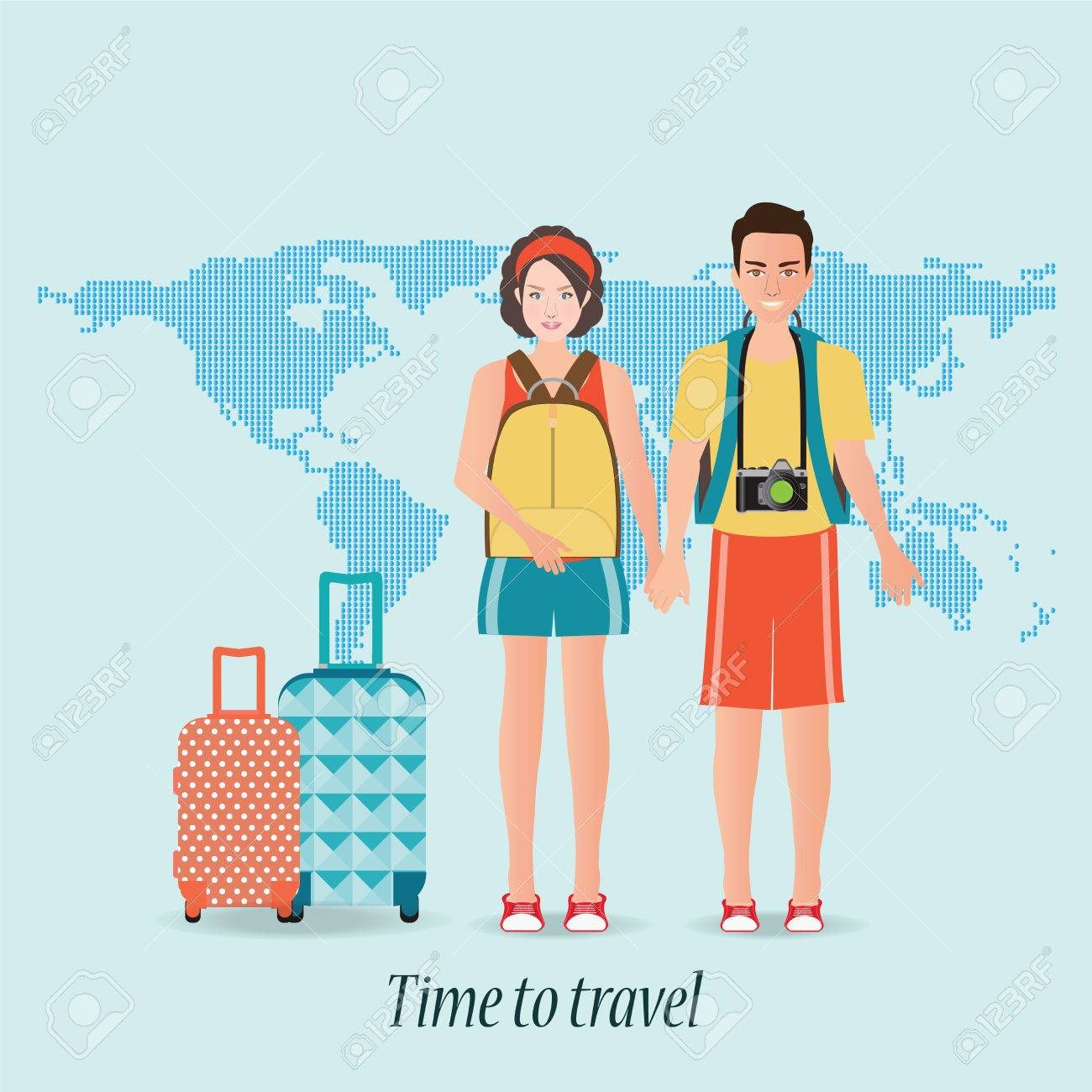 Couple travelers with luggage on world map background tourists couple travelers with luggage on world map background tourists couple ready to trip on gumiabroncs Gallery