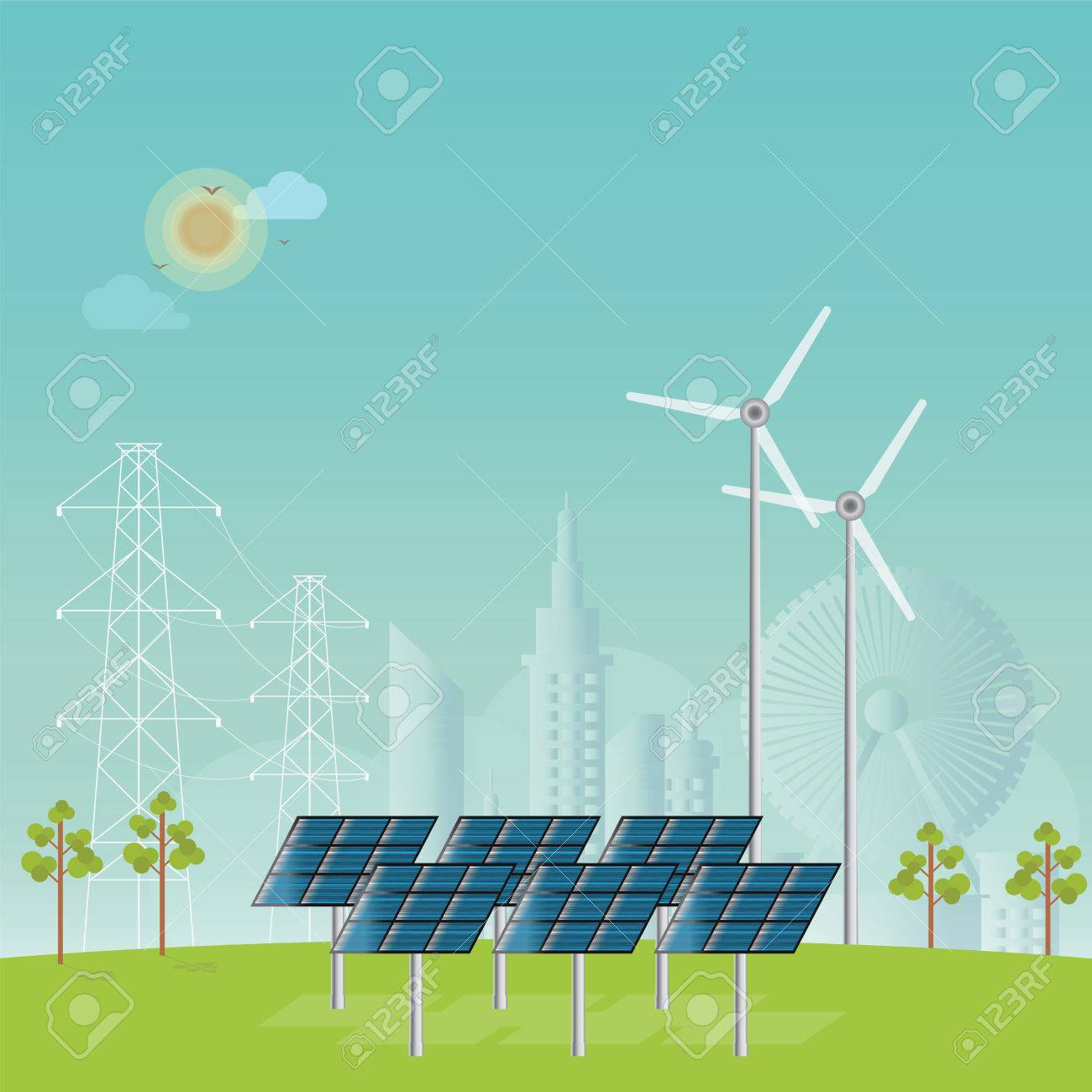 Solar energy panels and wind turbine on city view background,