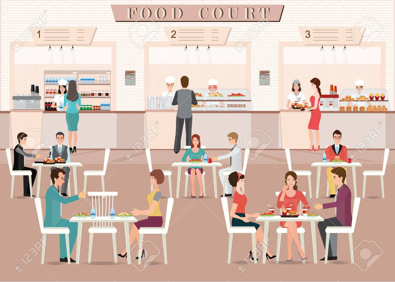 People eating in a food court in a shopping mall, character flat design vector illustration. - 69418292