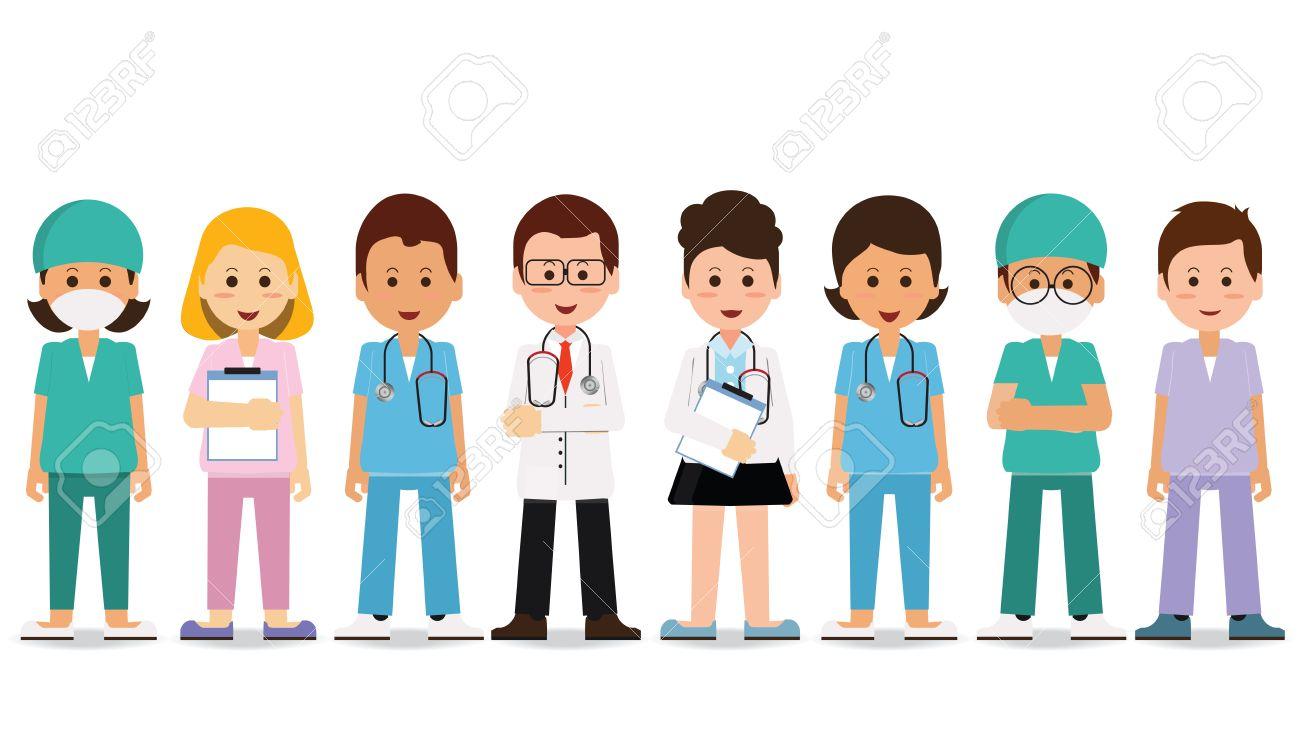 Medical Team Isolated On White Set Of Hospital Medical Staff