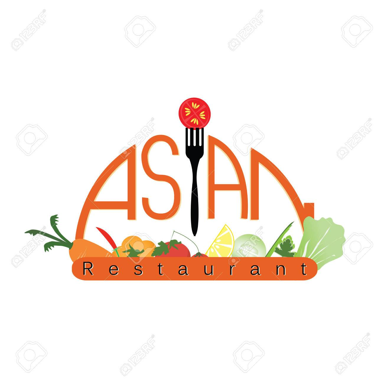 Logo For Asian Restaurant Design For Restaurants And Cafes, Creative  Concept Vector Illustration. Stock