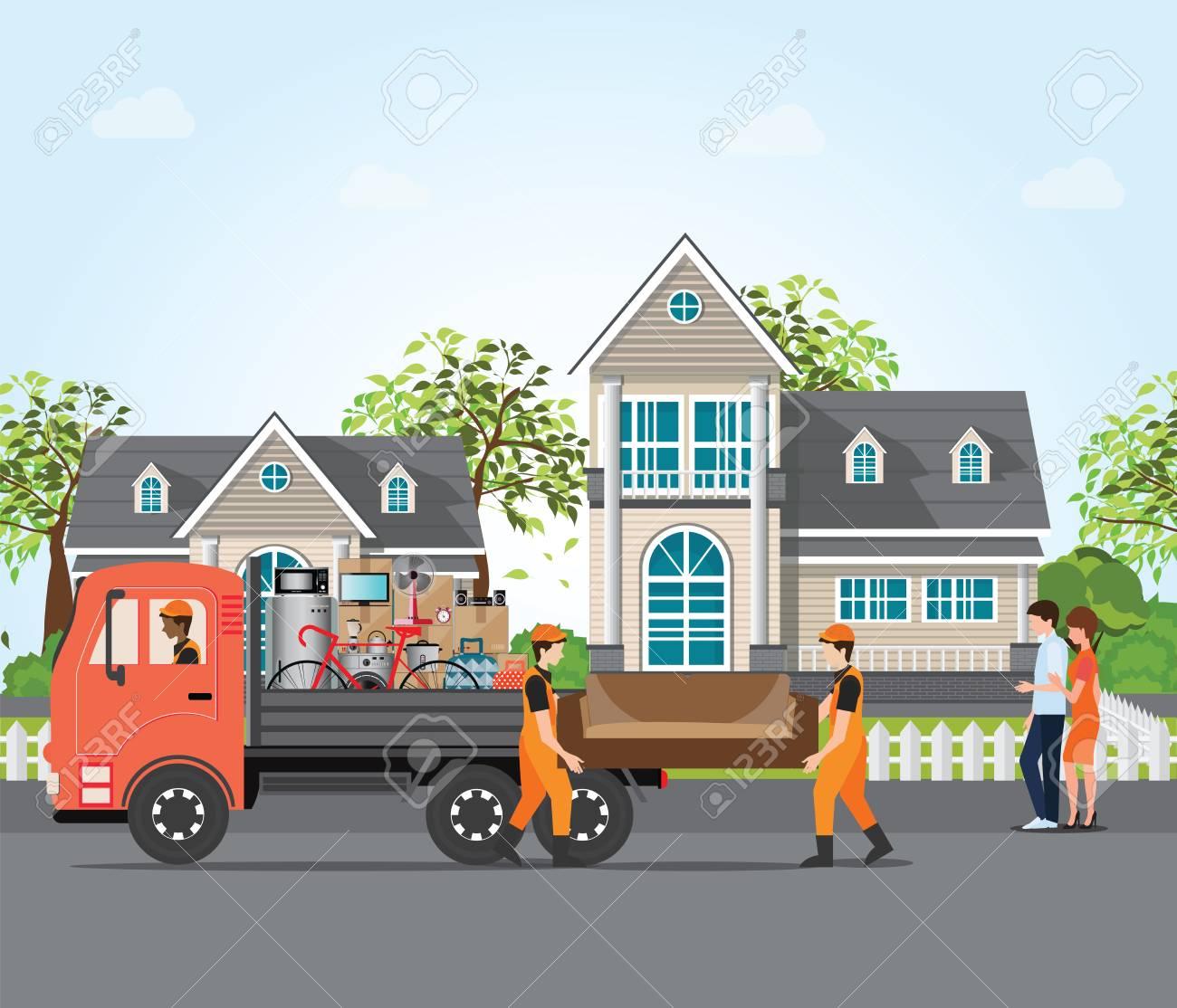 Standard Bild   Verbinden Sie Das Bewegen In Neues Haus, Bewegliche Möbel  Des Angestellten Mit Den Service LKWs, Nach Hause Bewegen Und Immobilien ...
