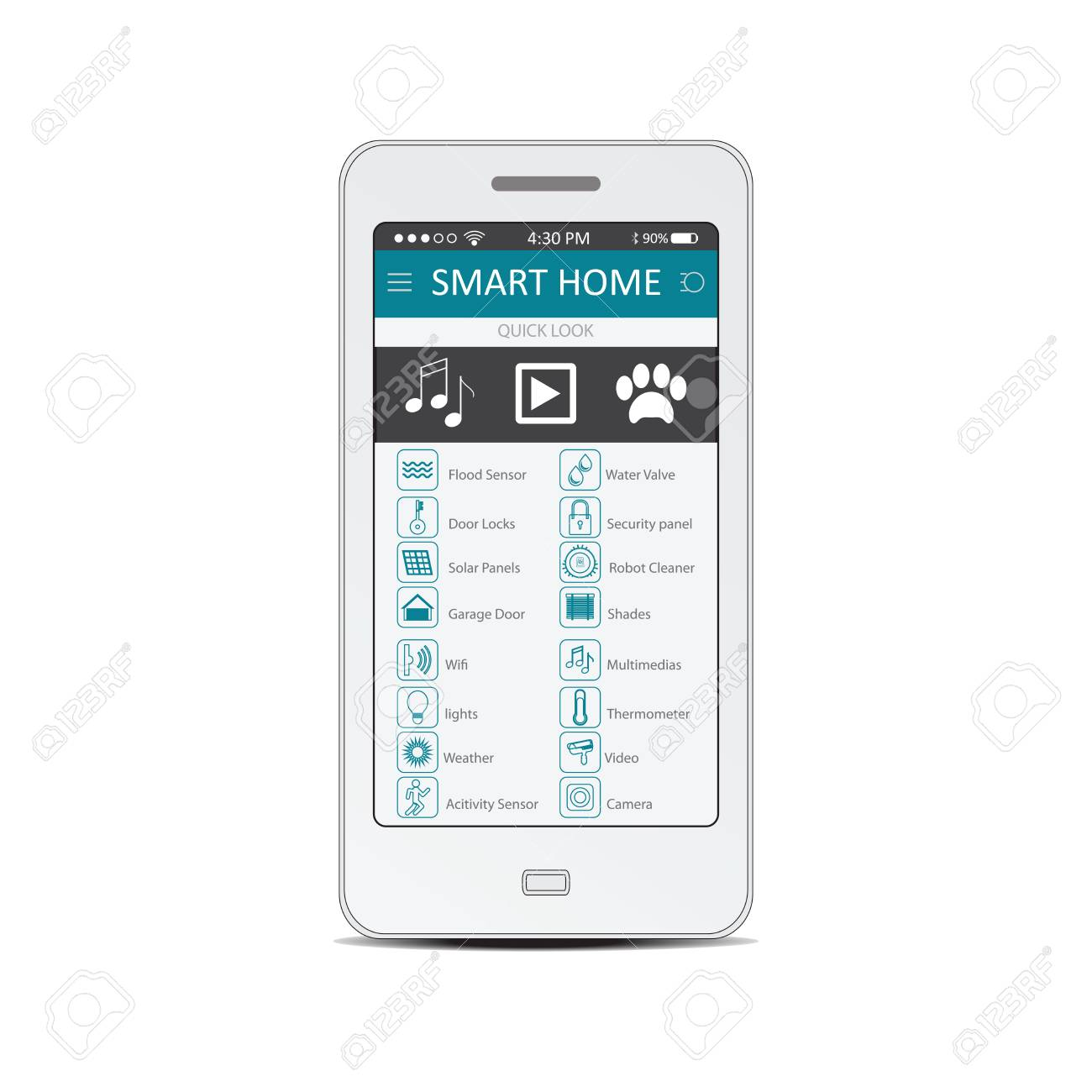 Smartphone With Flat Design Smart Home Application On The Screen ...