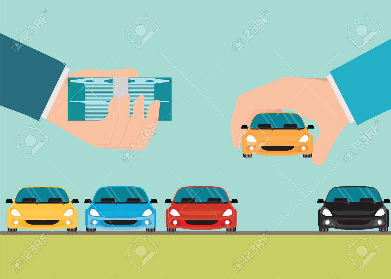 buying new car conceptual hand holding car and money rental