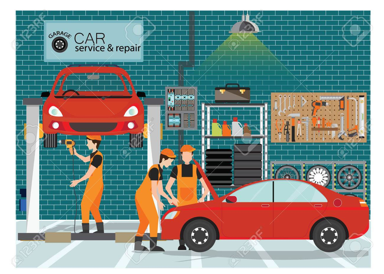 Car service and repair center or garage with worker, exterior building with the various departments, vector illustration.. - 82192735