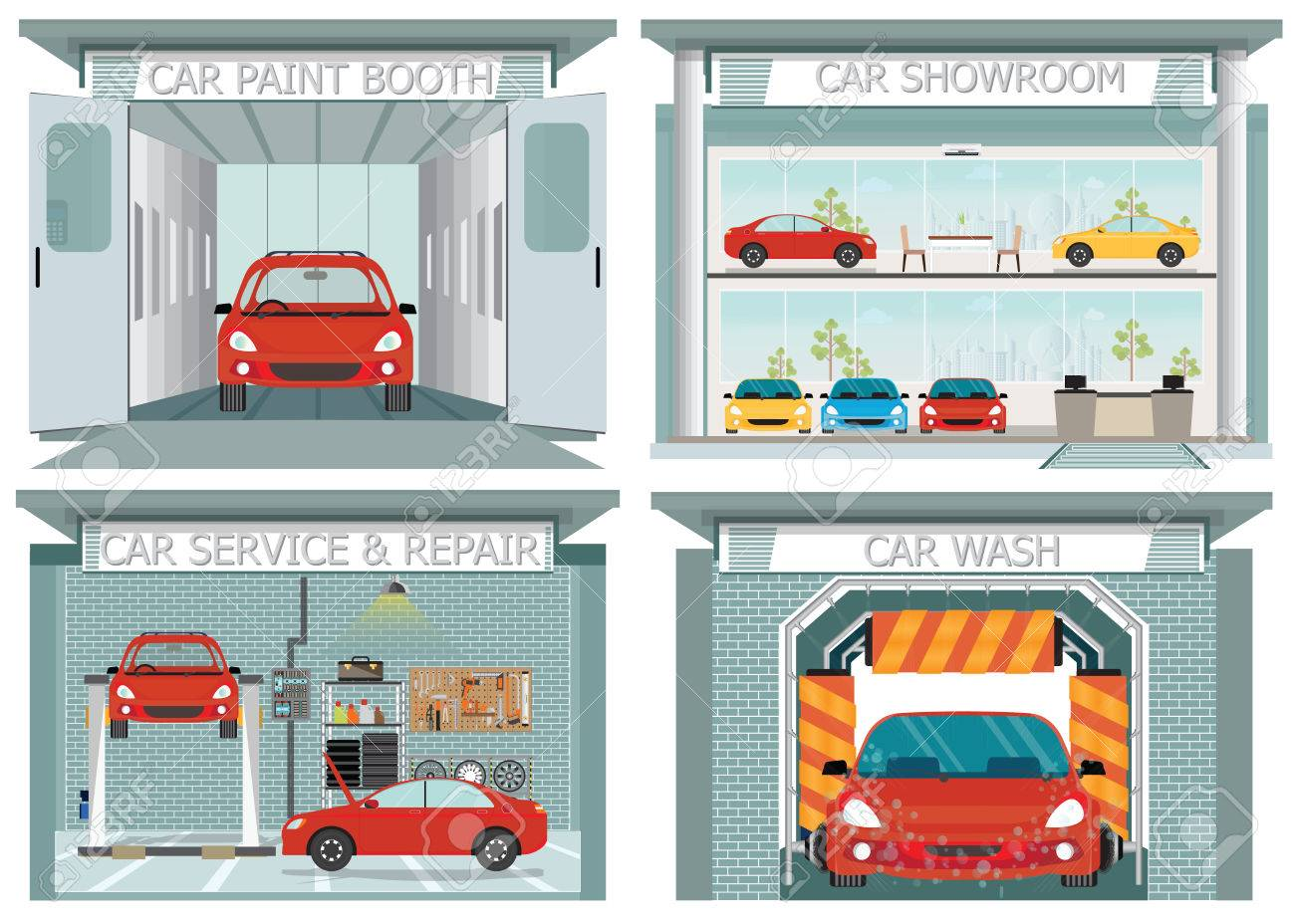 Set Of Car Service Station Showroom Carwash Paint Booth Service
