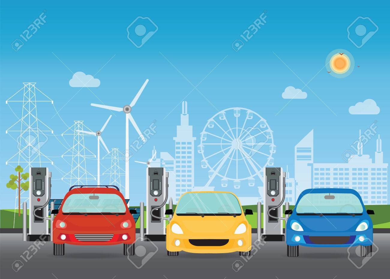 Electric cars charging at the charger station, the solar panels and wind turbines on City building skyline background,Eco green city theme conceptual vector illustration. - 82691142
