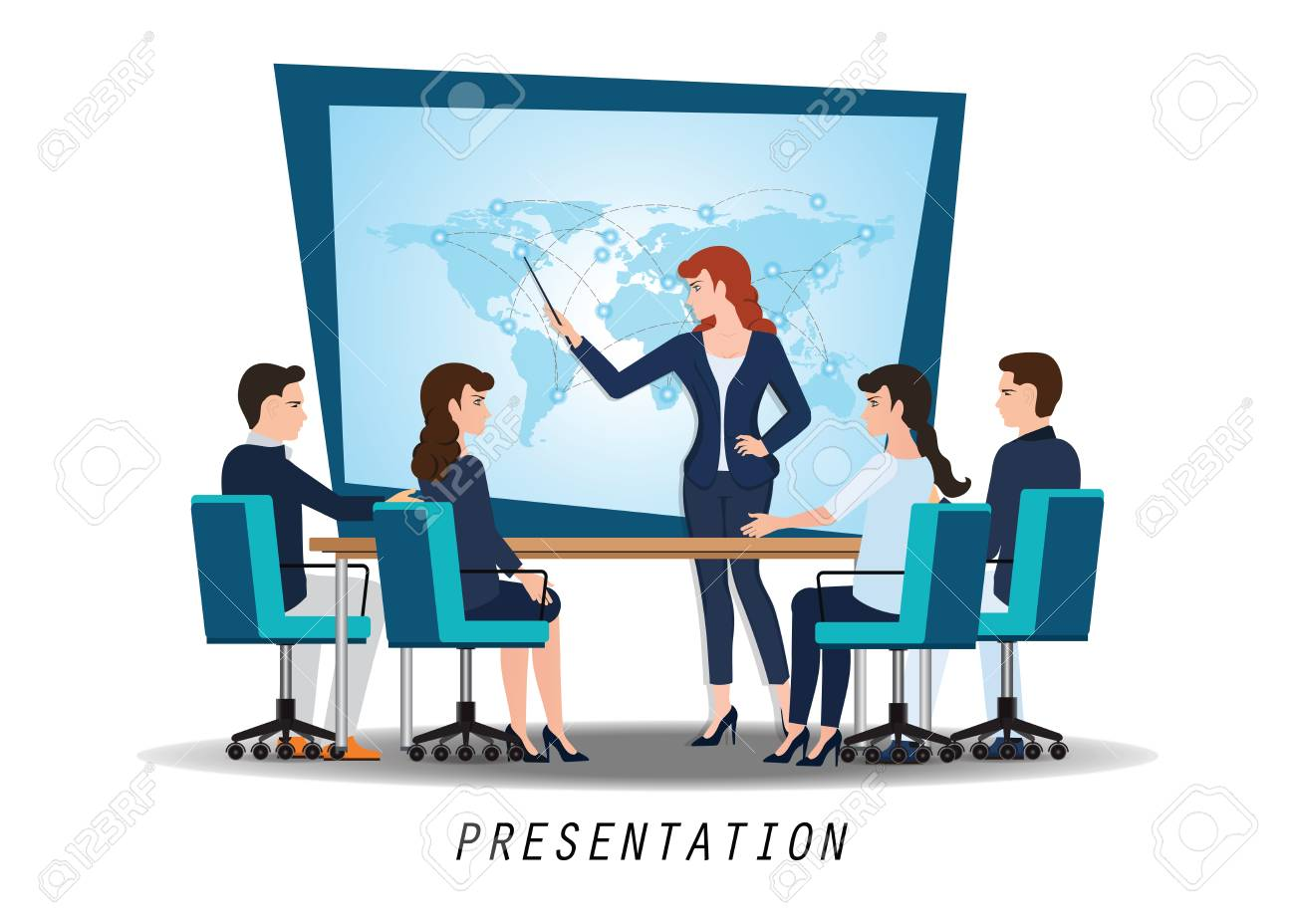 business woman presenting world business on whiteboard with business