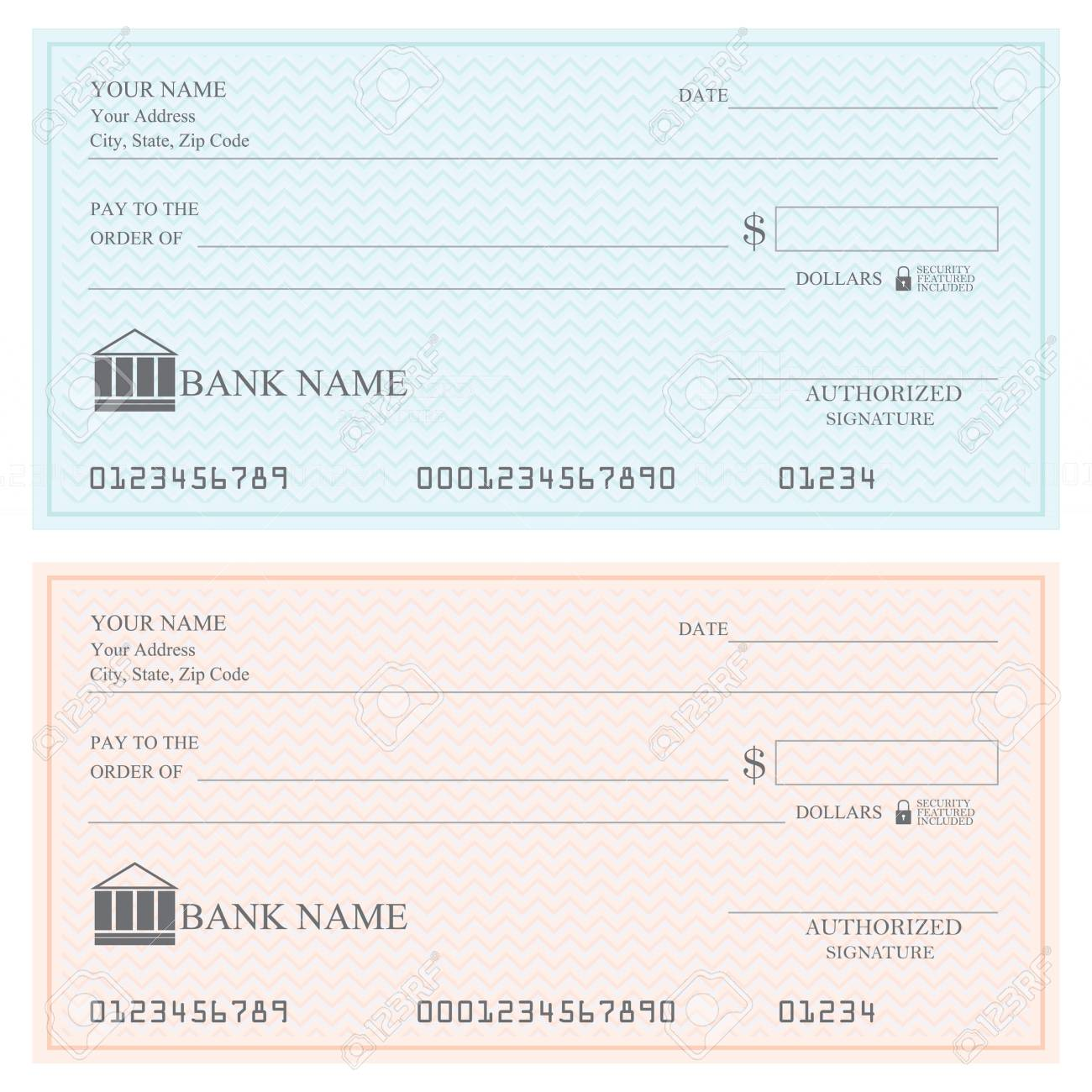 blank bank checks or cheque book royalty free cliparts vectors and