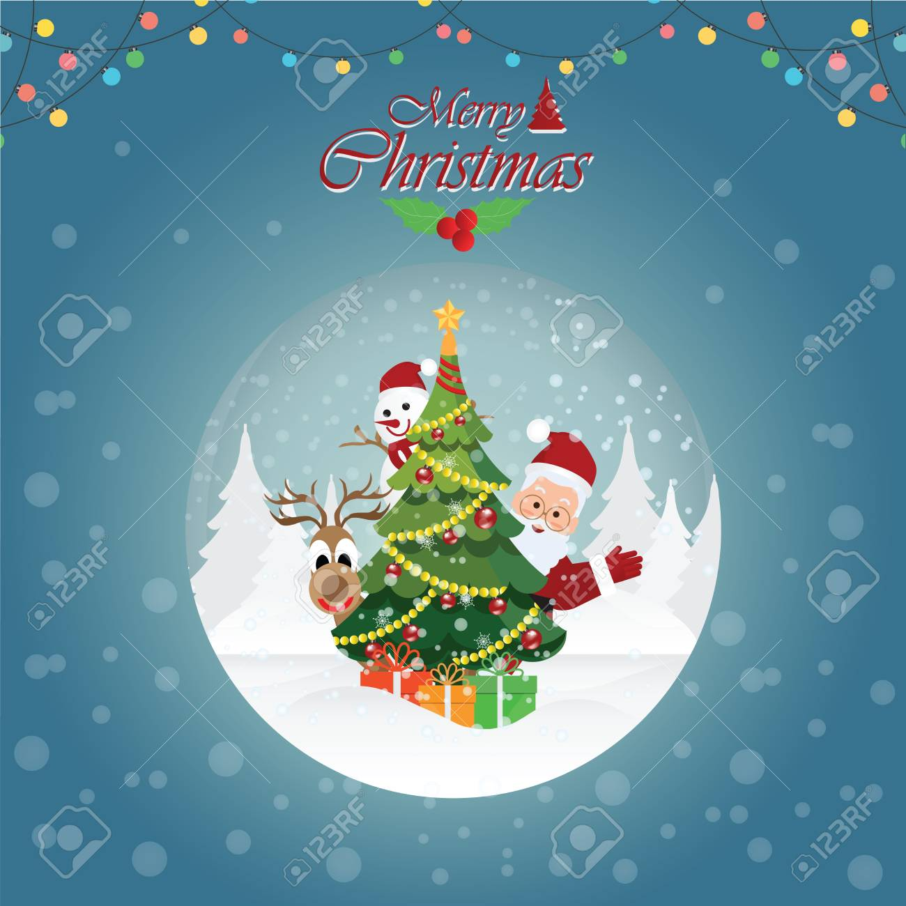 Merry Christmas Greeting Card With Christmas Santa Claus ,Snowman ...