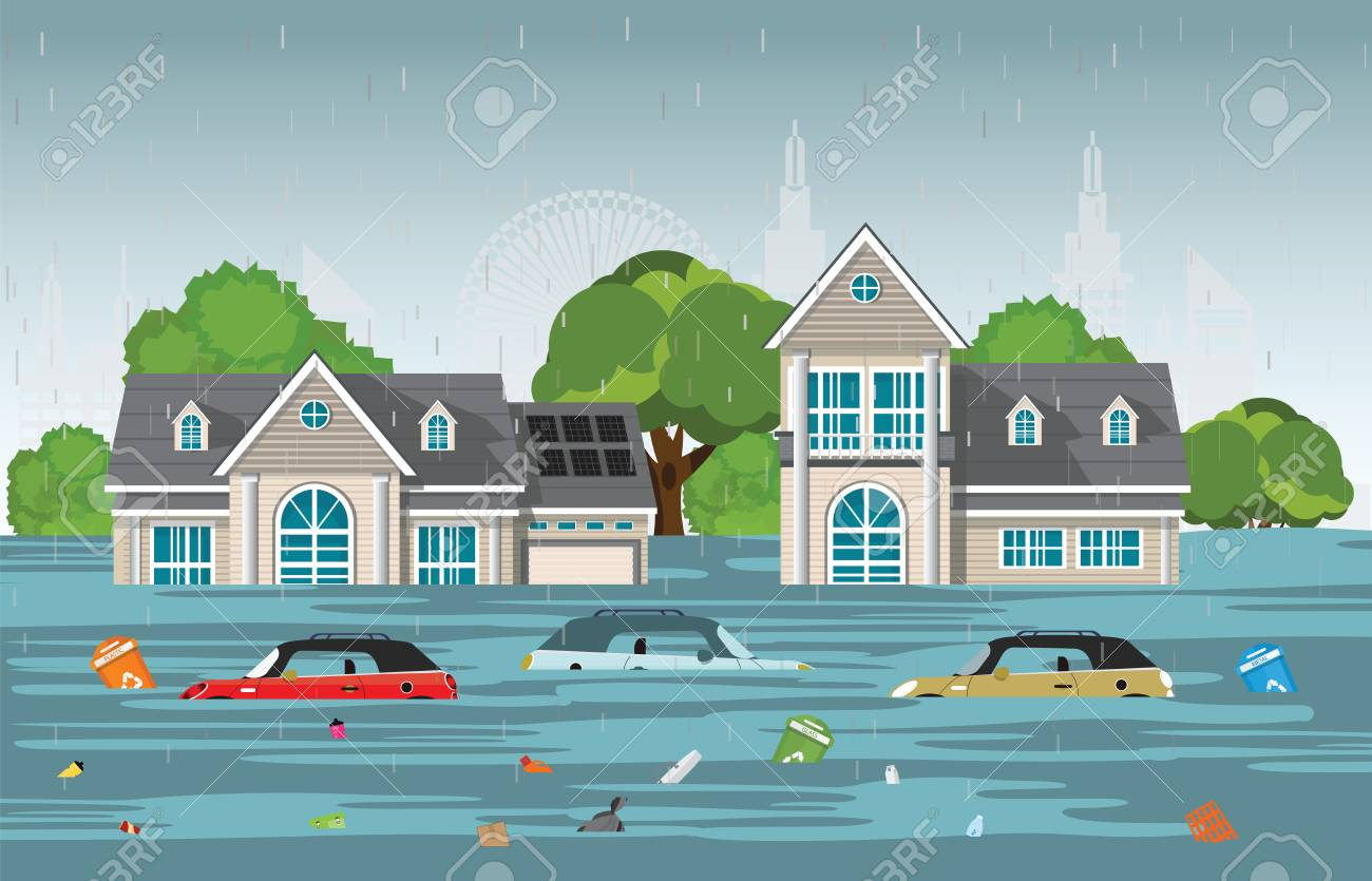 Heavy rain drops and city flood in modern village with cars and garbage floating in the water,vector illustration. - 102174431