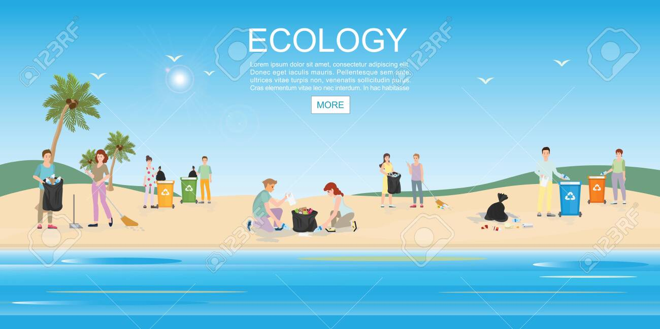 People cleaning garbage on beach area. Concept environmental conservation and ocean pollution problems vector illustration. - 129016554