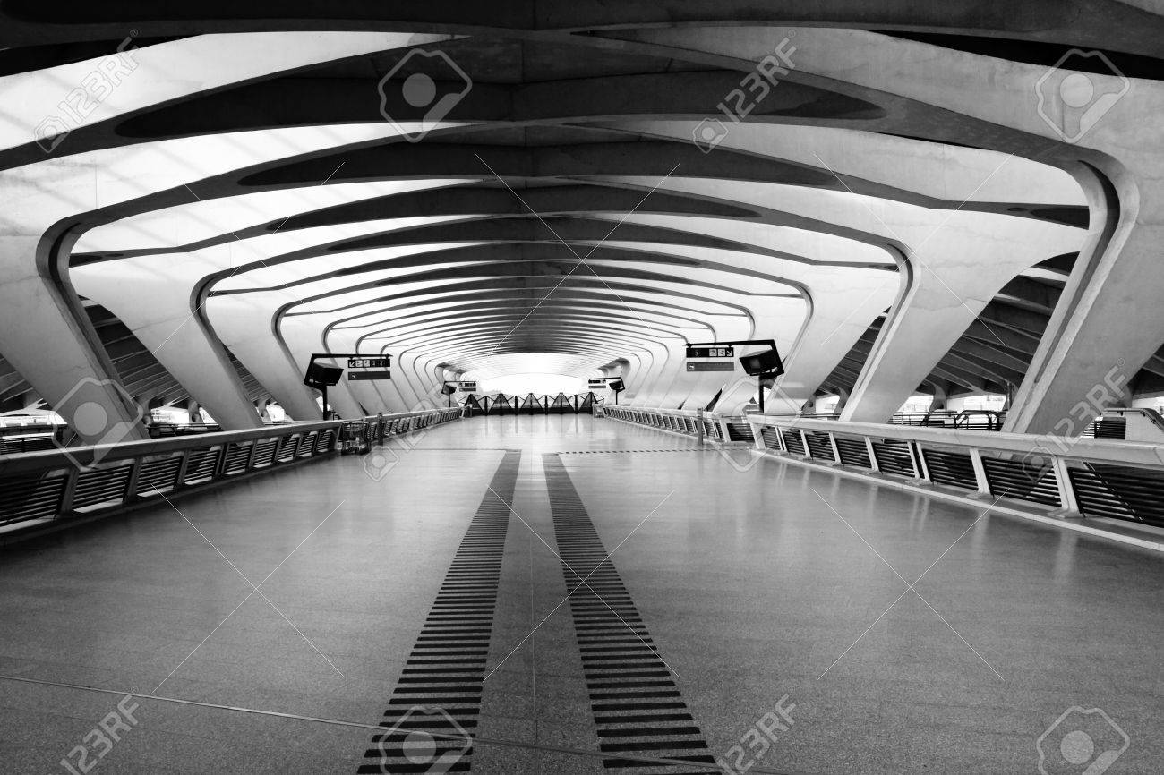 Modern Architecture France modern architecture: long passage way at train station at saint