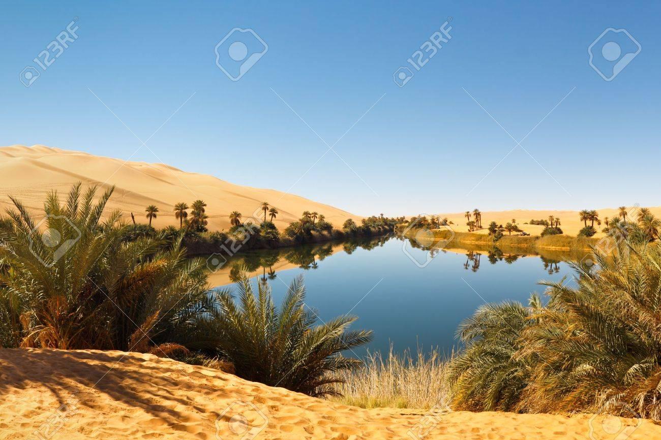 Umm al-Ma Lake - Idyllic oasis in the Awbari Sand Sea, Sahara Desert, Libya - 9471490