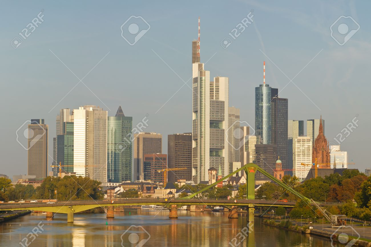 Skyline of Frankfurt reflecting in the Main River. Frankfurt is the financial center of Germany. All major German banks are headquartered in the city. Stock Photo - 10871370