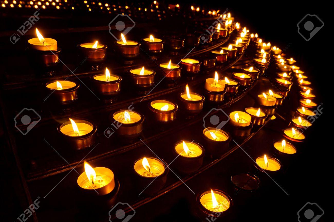 Countless prayer candles at a church