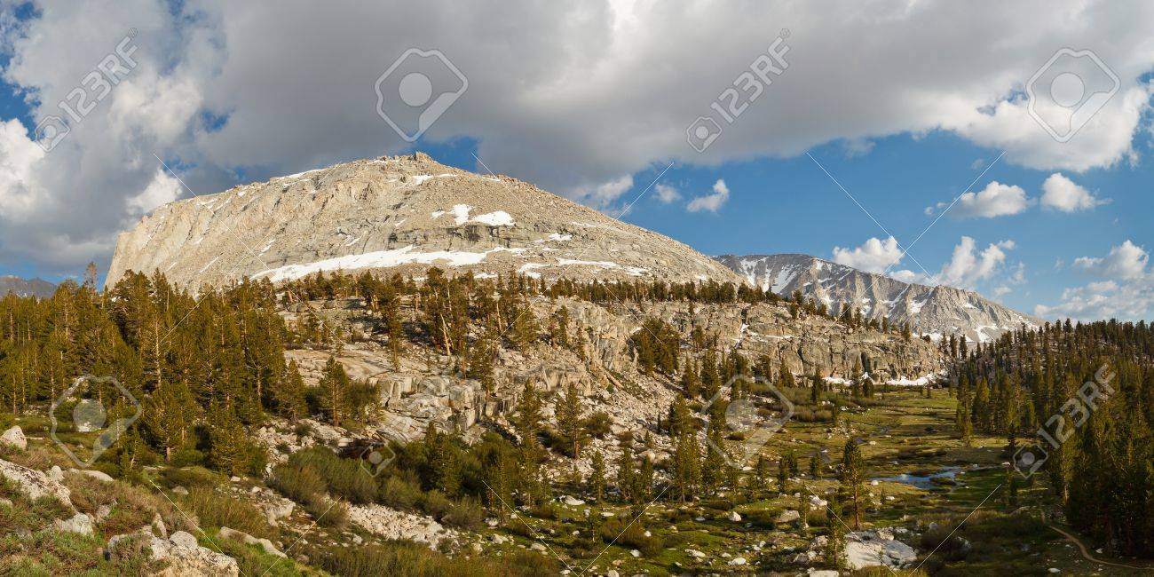 High Sierra Scenery - Green Mountain Meadows and Rugged Granite Peaks. California, USA Stock Photo - 17211110