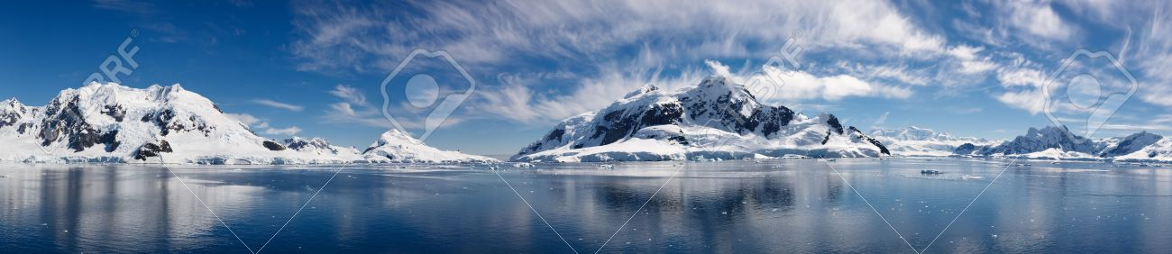 Paradise Bay, Antarctica - Panoramic View of the Majestic Icy Wonderland near the South Pole Stock Photo - 17274765