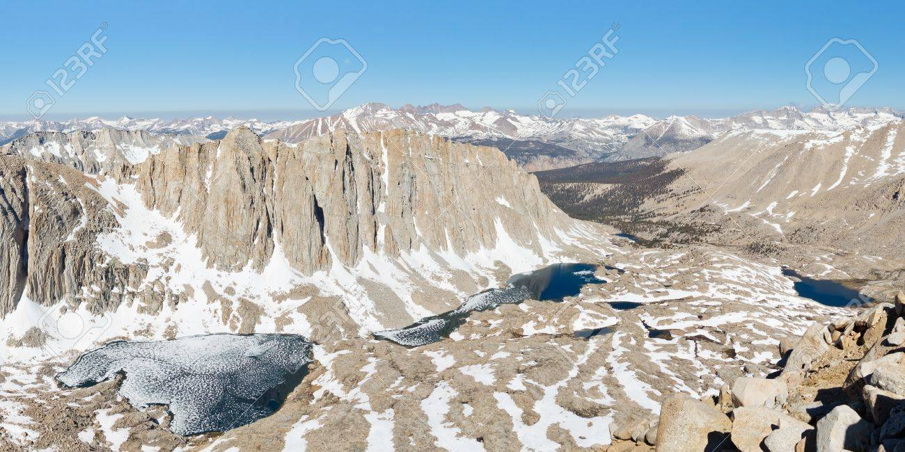 Sierra Nevada Scenery - Symbiosis of Granite, Snow and Water. Grand View from Mount Whitney. Stock Photo - 17959787