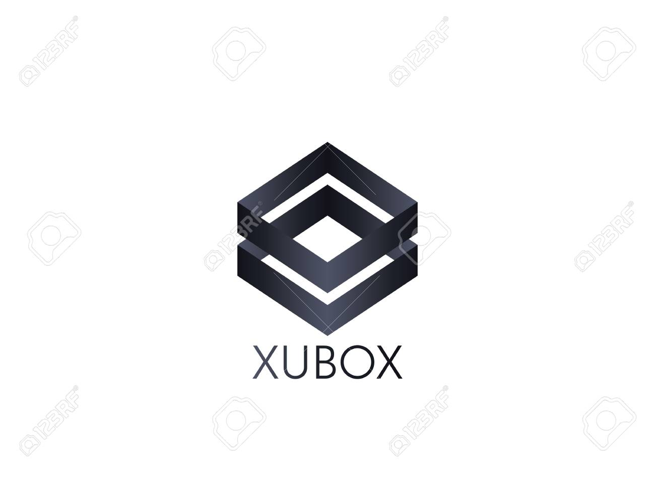 abstract cube box logo icon template blockchain and technology