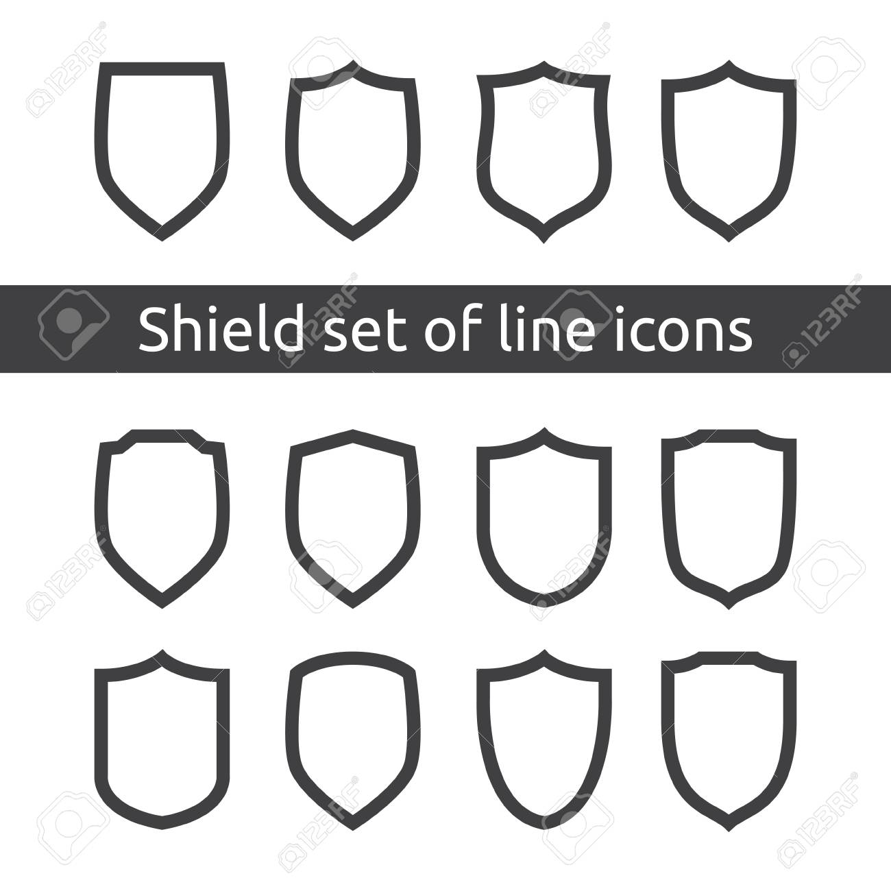 shield logo symbol icon set with outline line style  vector illustration