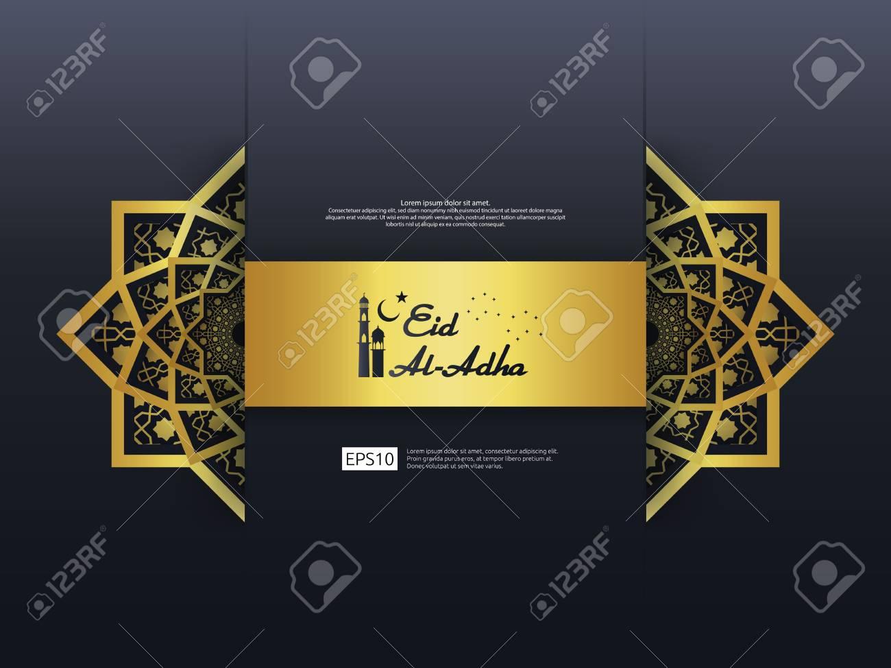 Eid Al Adha Mubarak Greeting Design Abstract Gold Color Mandala