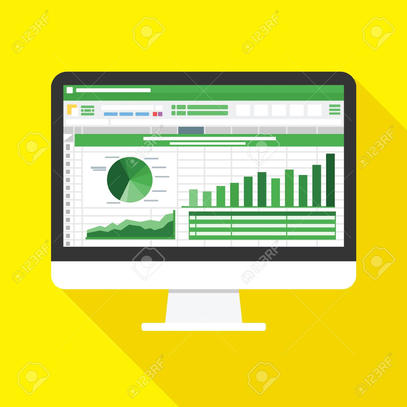 Spreadsheet on Computer screen flat icon. Financial accounting report concept. office things for planning and accounting, analysis, audit, project management, marketing, research vector illustration - 110198576