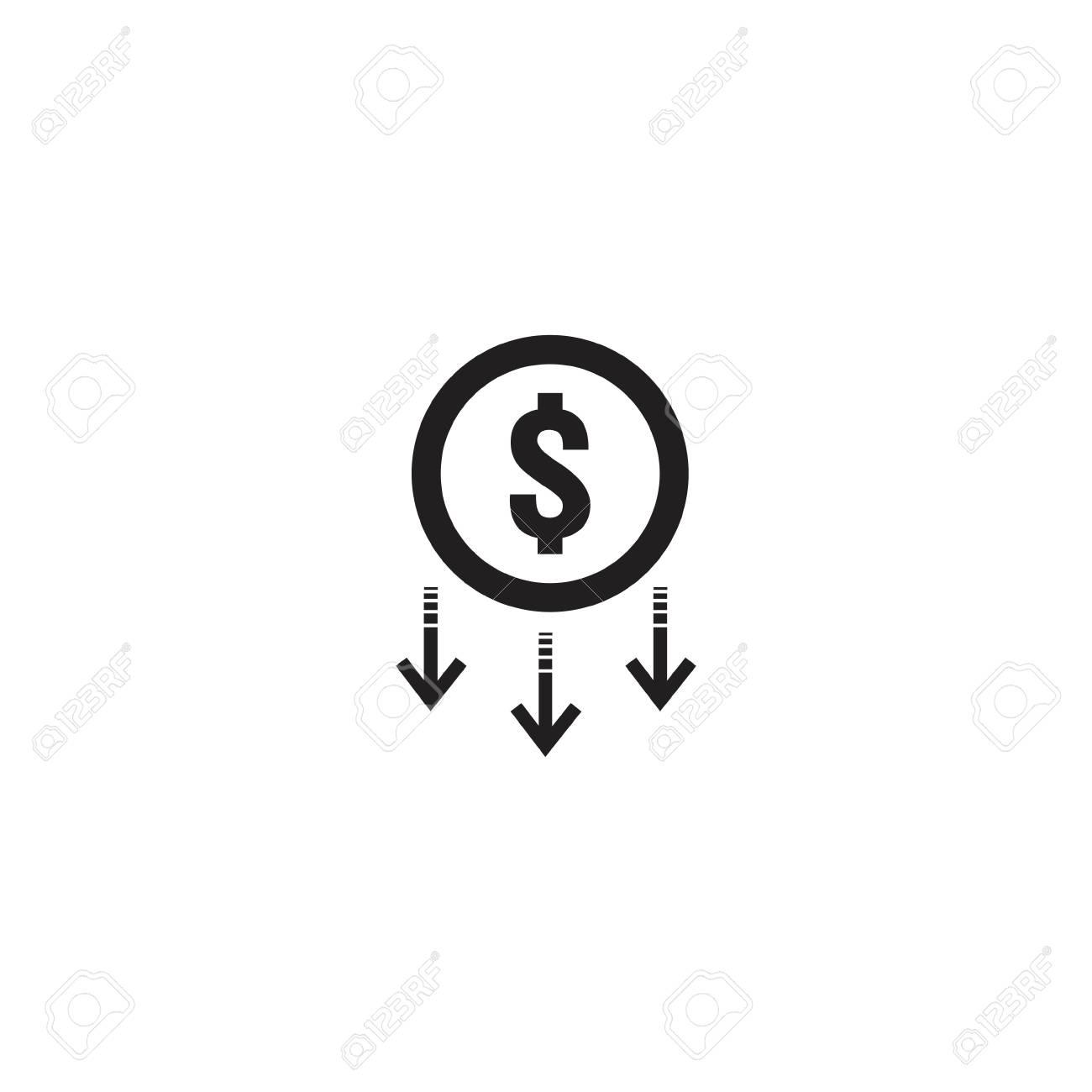 arrow decrease icon. dollar money fall down symbol. economy stretching rising drop. Business lost crisis decrease. cost reduction bankrupt icon. vector illustration. - 110406369