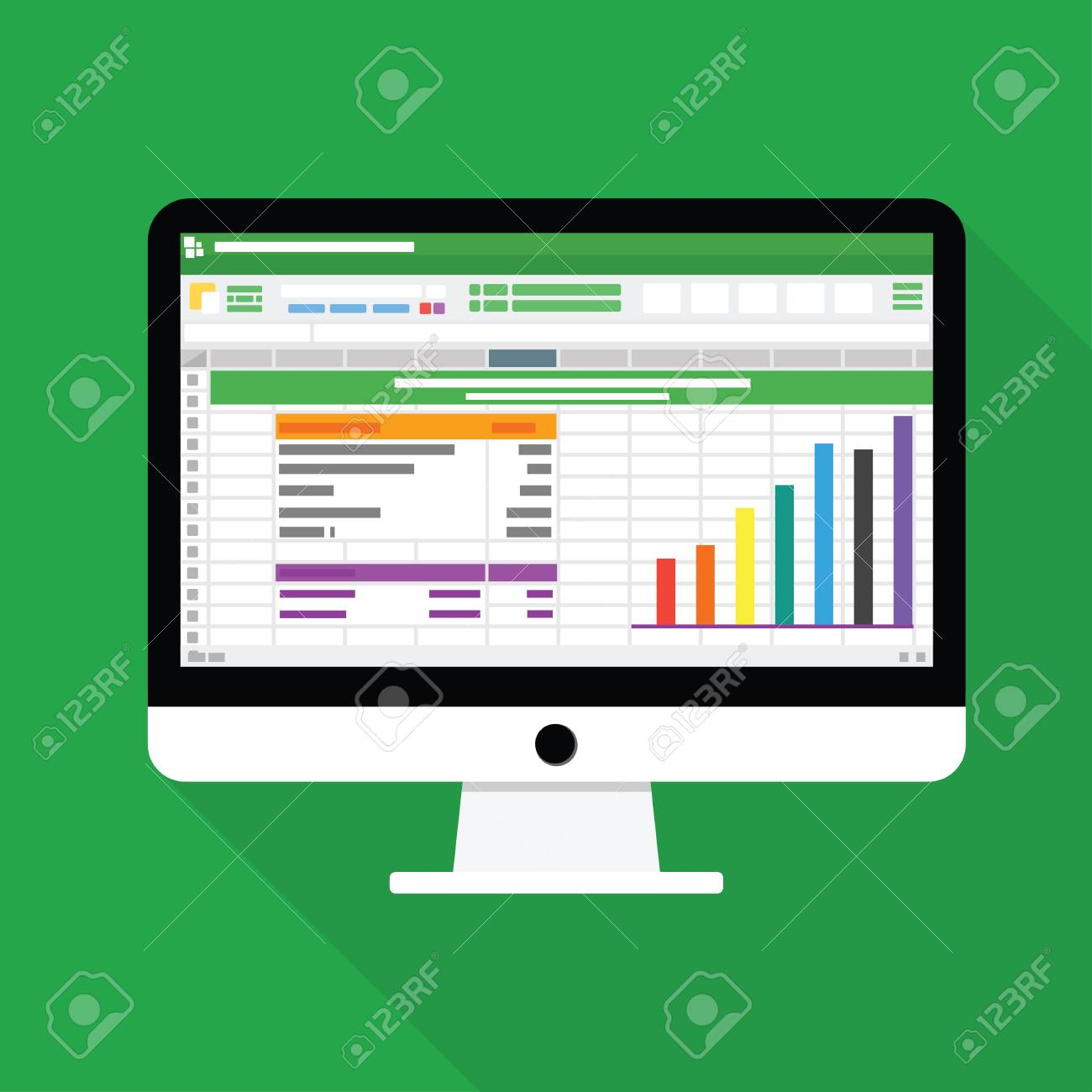 Spreadsheet Computer flat icon. Financial accounting report concept vector illustration - 113208445