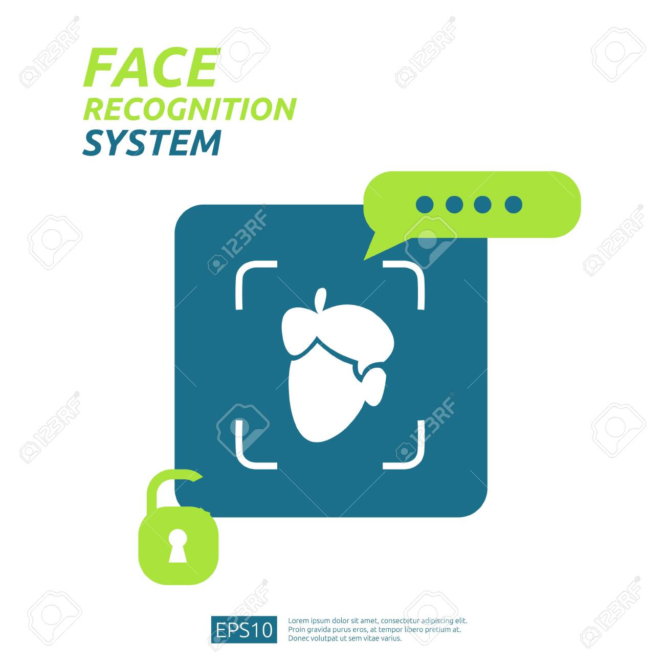 Face recognition system scanning on smartphone. facial biometric data identification security. web landing page template, banner, presentation, social, poster, ad, promotion or print media. - 137161036