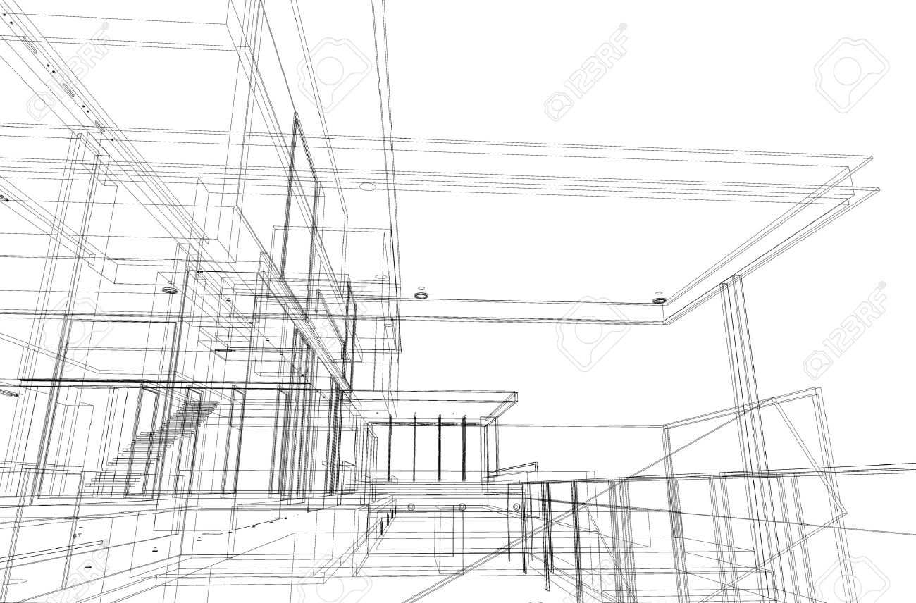 Architectural drawing, housing project by wireframe style, generated by computer Stock Photo - 9432690
