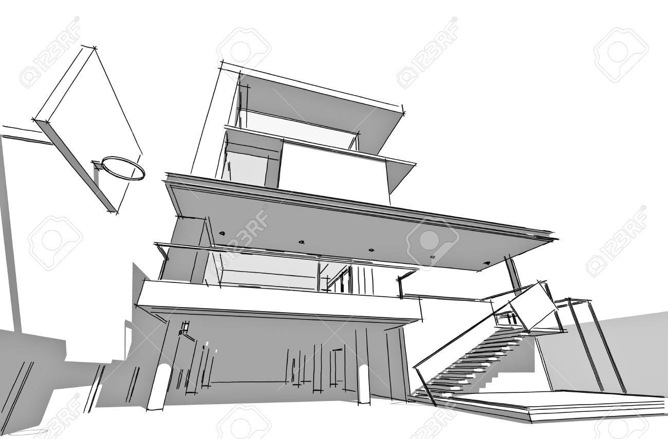 Architecture Drawing Hand architectural drawing, housing projecthand-sketch style